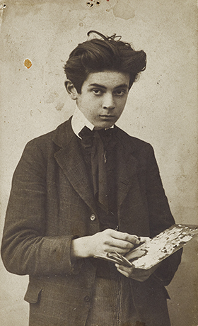 Egon Schiele with Palette, September 1906